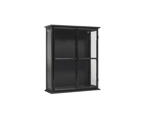Petite armoire murale vitrée style industriel métal noir ROMY - Nordal