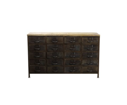 Commode avec tiroirs bois massif style industriel ISABELLE