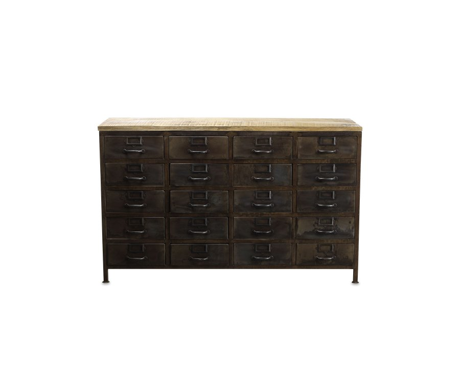 Commode bois massif style industriel - ISABELLE