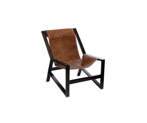 Fauteuil lounge cuir véritable et métal COBRA
