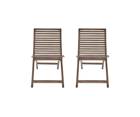 Lot de 2 chaises de jardin design bois et métal COLI