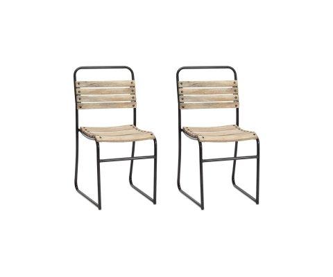 Lot de 2 chaises de jardin bois et métal KOLA
