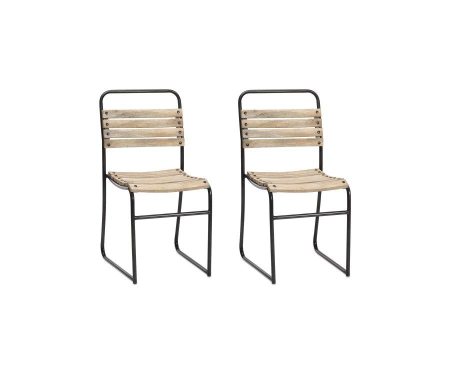 Lot de 2 chaises de jardin bois et métal - KOLA