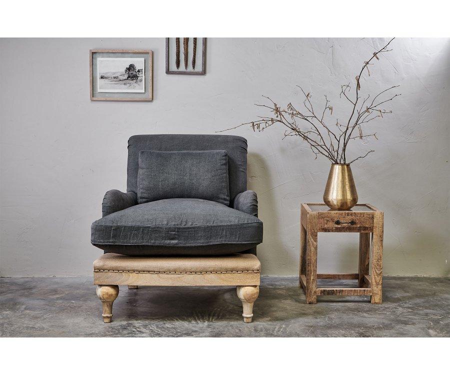 Fauteuil tissu lin style vintage - JULIA