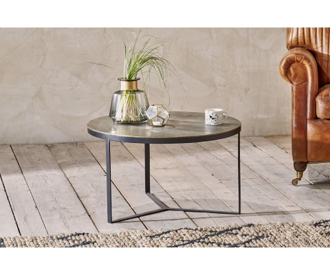 Table basse ronde métal antique - ANTIKA