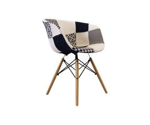 Chaise tissu patchwork noir et blanc RAY