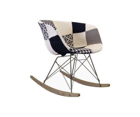 Chaise à bascule scandinave tissu patchwork noir blanc RAY