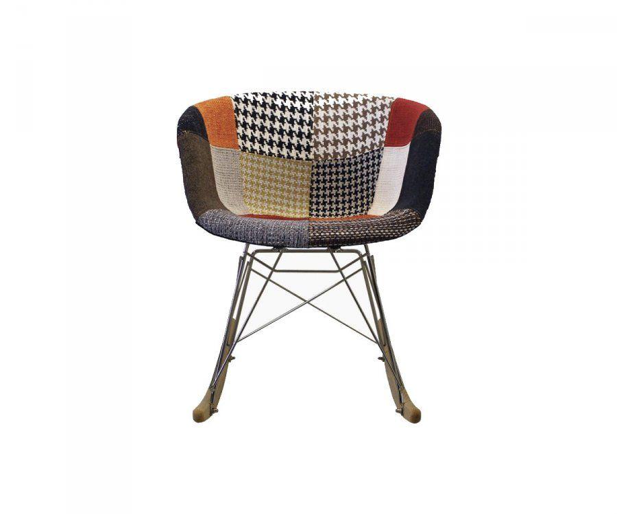 Chaise à bascule rembourrée patchwork RAY - Couleurs au choix