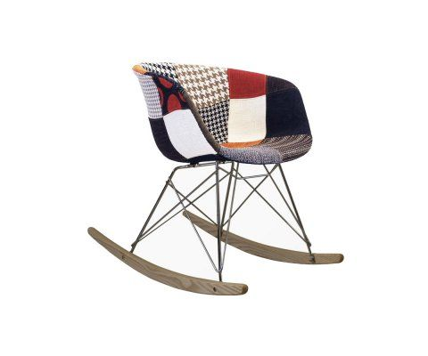Chaise à bascule tissu patchwork scandinave RAY