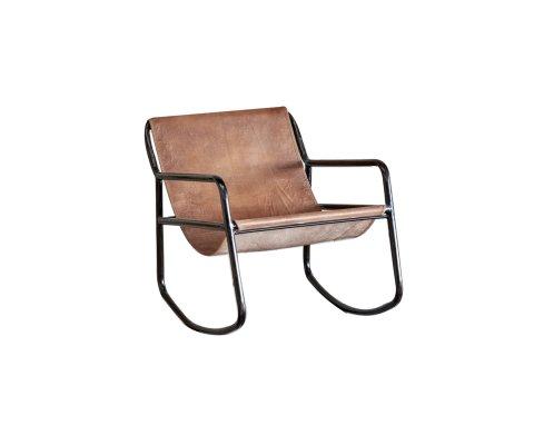 Rocking chair vintage métal et cuir KORKI