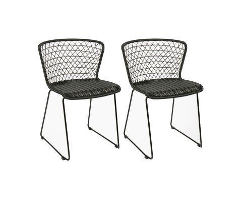 Lot 2 chaises de jardin en corde QUADRO