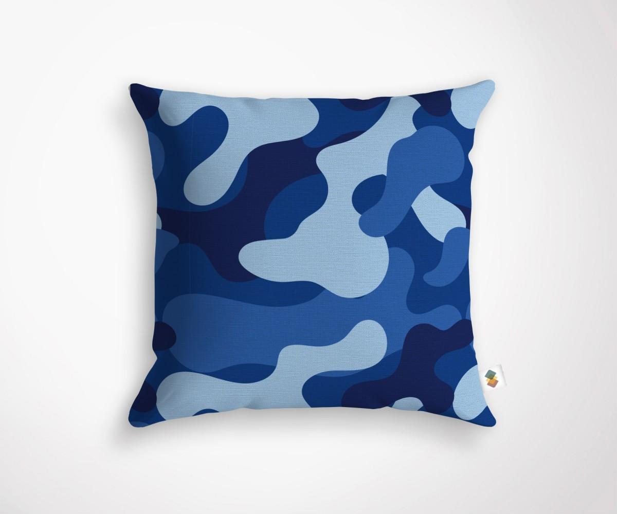 Coussin design camouflage bleu 45x45cm - Decoration coussin design ...