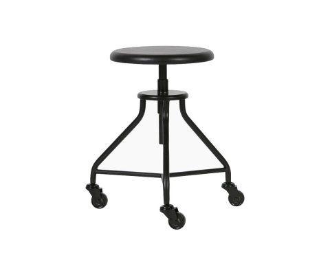 Tabouret de table à roulettes bois métal ROYCE