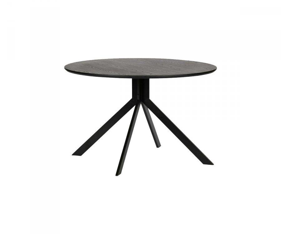 Table à manger ronde design 120cm bois noir SIDE - Woood
