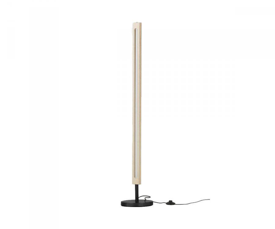 Lampadaire tube néon et bois naturel SLAK - Woood