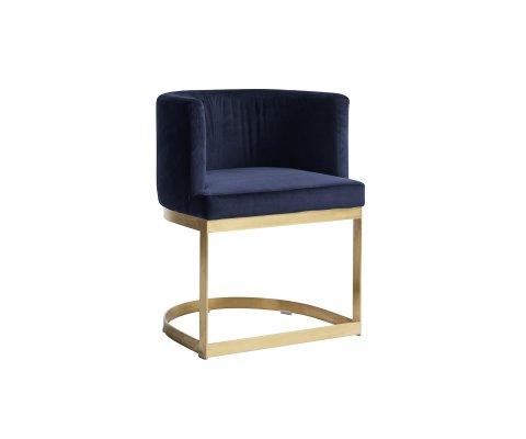 Chaise moderne pied métal doré et velours JERRY