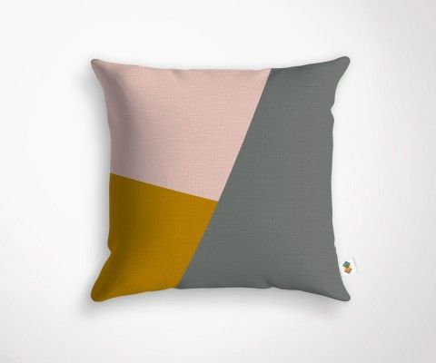 PINK GREY MUSTARD cushion - 45x45cm
