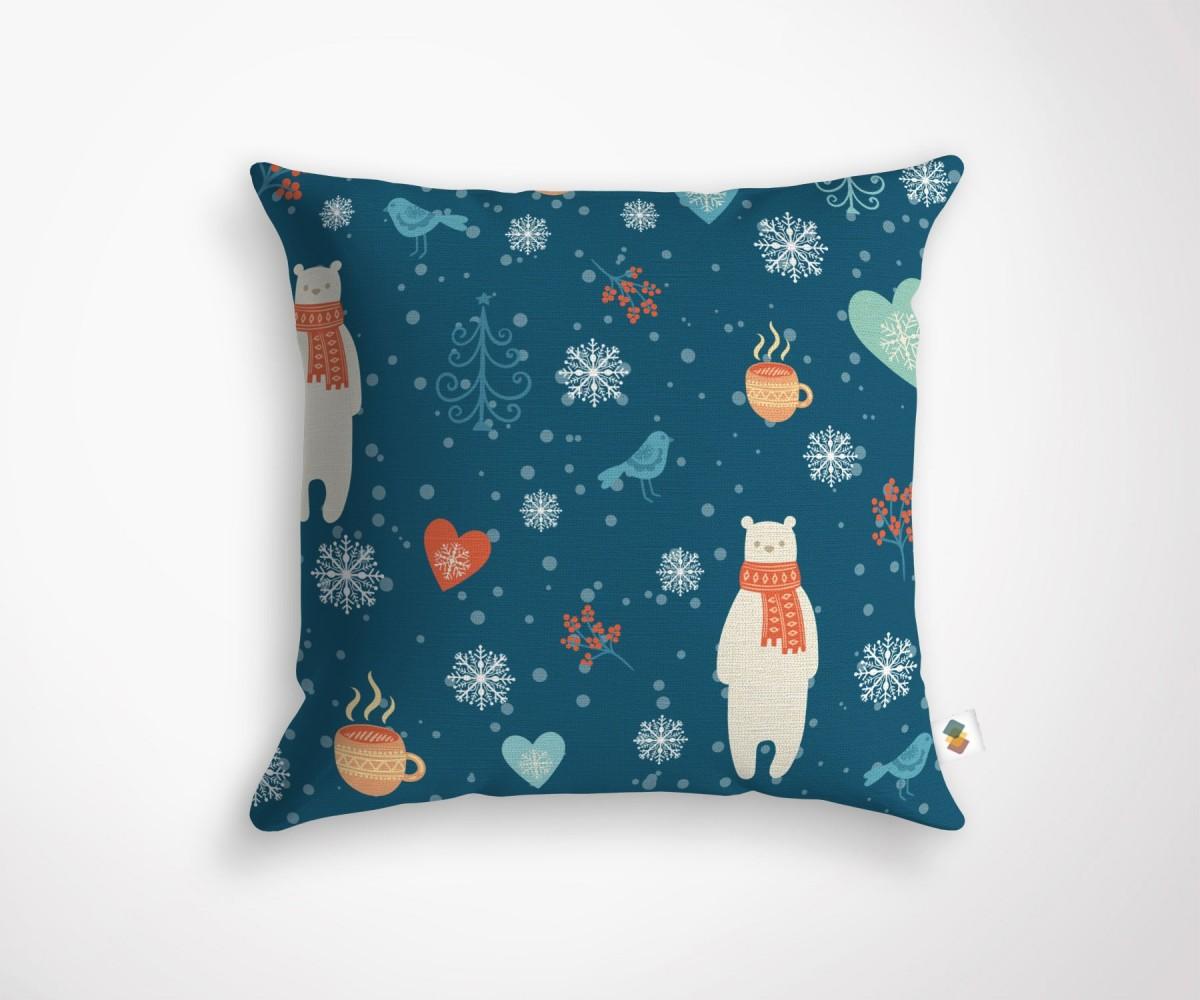 Coussin design motifs hiver - Decoration coussin design ...