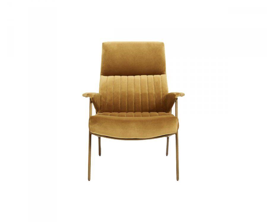 Fauteuil lounge velours côtelé moutarde IBEX - Nordal