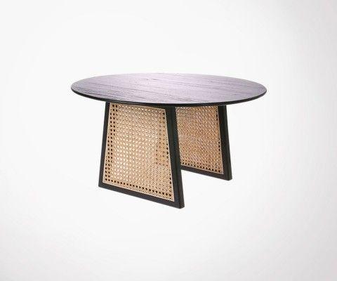 Table basse design 60cm rétro bois cannage WELBER - HK Living