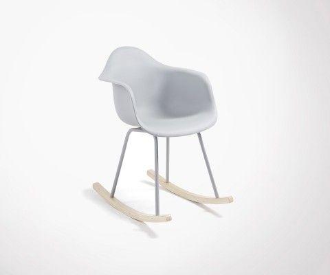 Chaise à bascule bois assise plastique IRIS