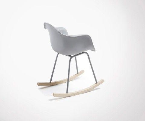 Chaise à bascule rocker bois assise plastique IRIS