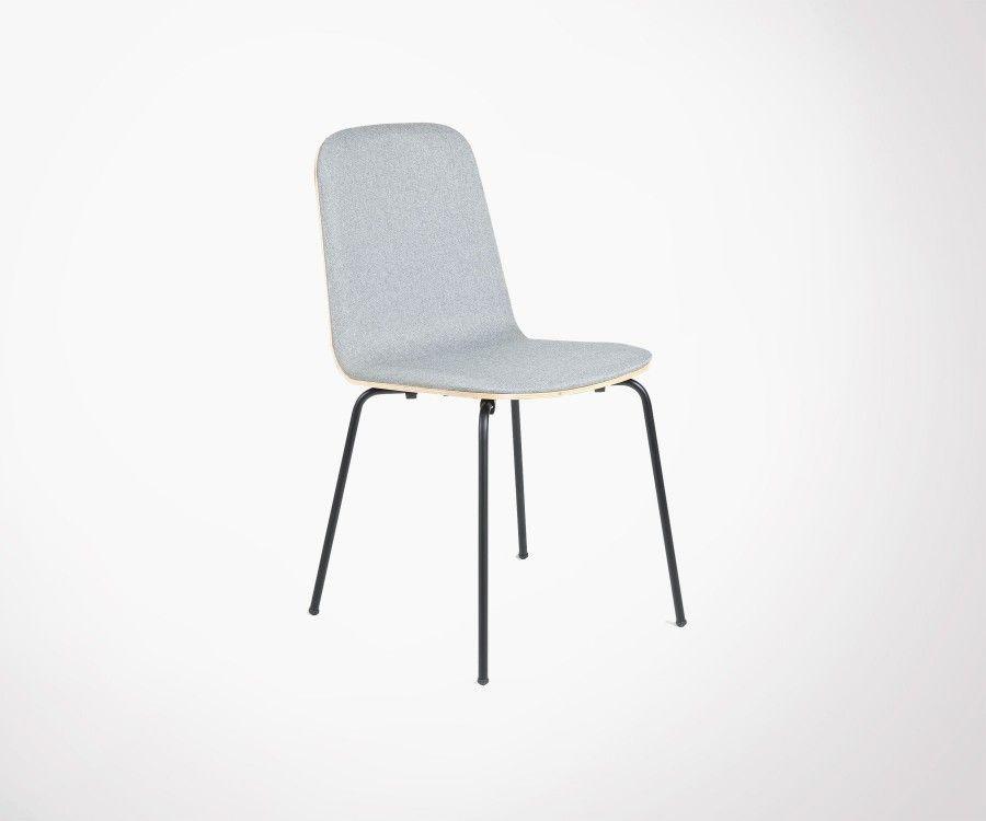 Chaise design bi matières bois tissu KAMEL