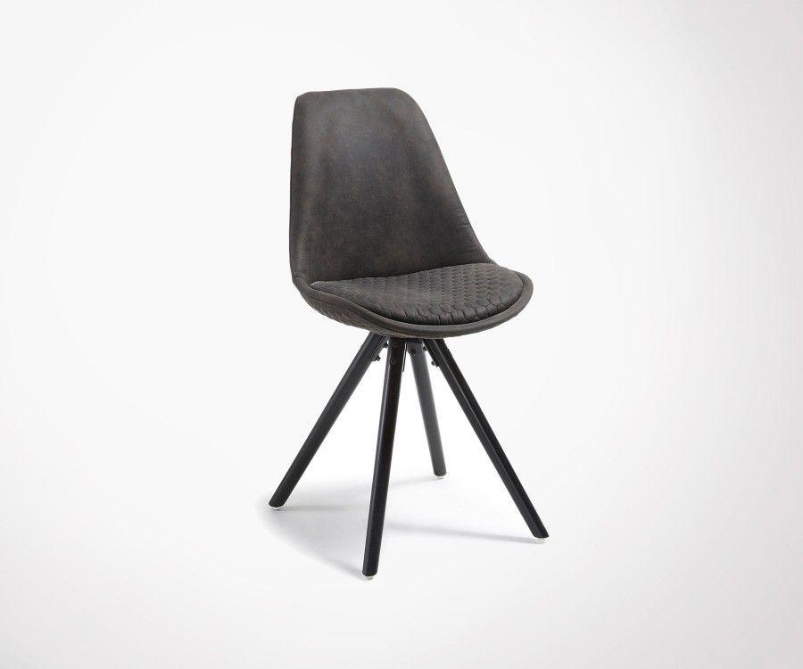 Chaise tissu marron rembourrée pied bois noir SCARLA