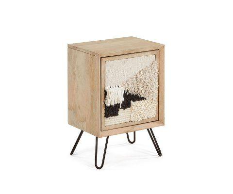 Table de chevet bohème bois et tissu WOOKO