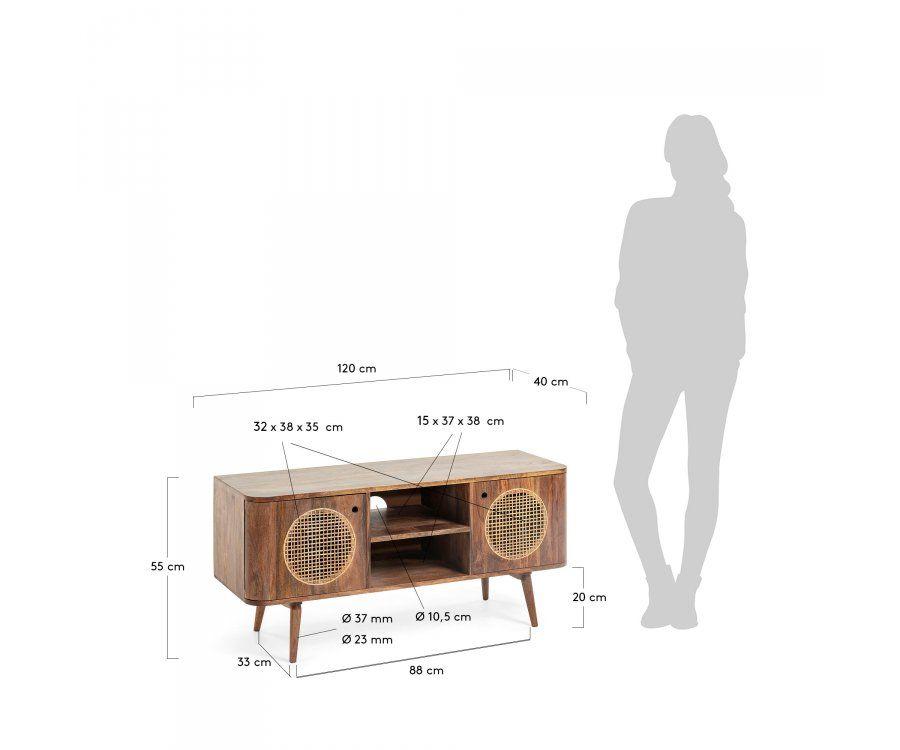 Meuble TV rétro bois cannage 120cm BEA