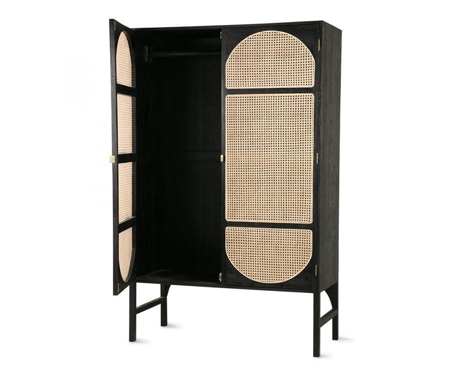 Armoire vintage bois noir portes cannage BACKIN - HK Living