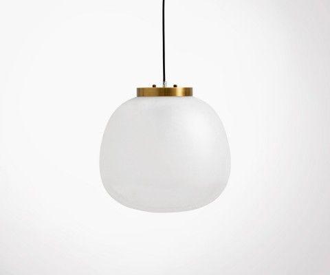 Suspension 40cm verre blanc laiton ADELINA - Nordal