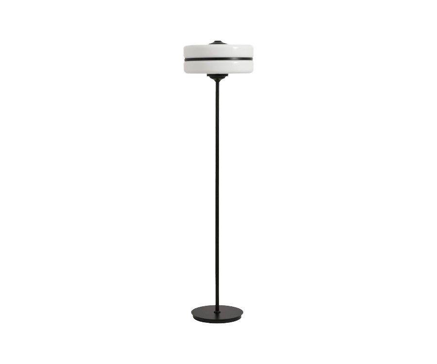 Lampadaire minimaliste verre blanc métal noir MARIANA - Nordal
