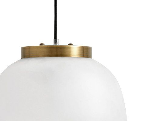 Petite suspension design 30cm verre blanc laiton ADELINA - Nordal