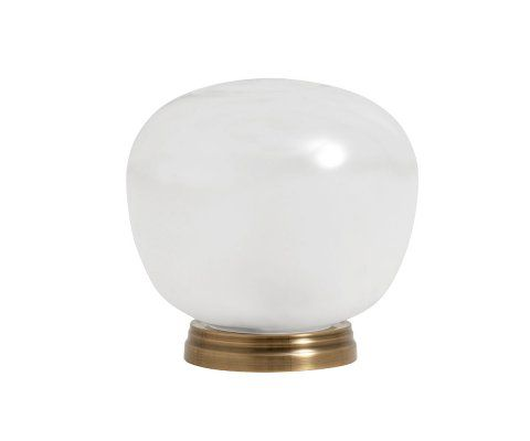 Lampe de table sphere verre blanc laiton ADELINA - Nordal