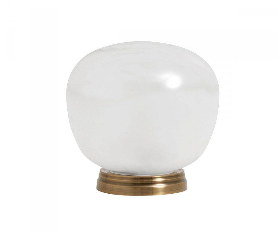 Lampe de table sphere verre blanc laiton ADELINA - Nordal