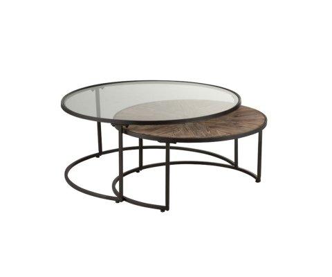 Lot de 2 tables gigognes ronde en métal MARIA - J-line