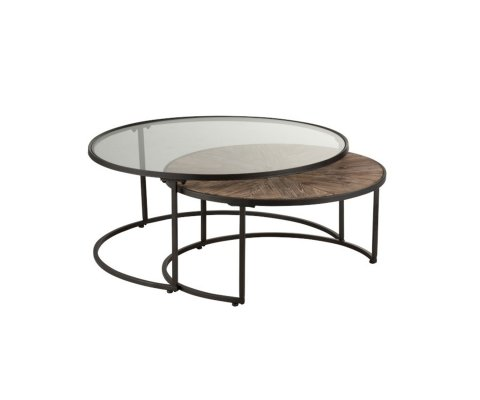 Lot de 2 tables gigognes ronde métal-MARIA