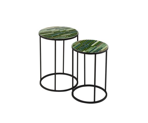 Lot de 2 tables gigognes rondes mosaique RALBOLI