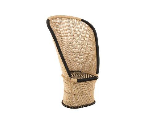 Fauteuil haut dossier en bambou naturel PIERRE - J-line