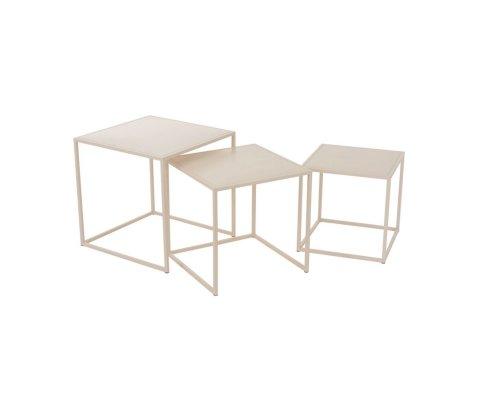 Lot de 3 tables gigognes carrées métal PLUMI - J-line
