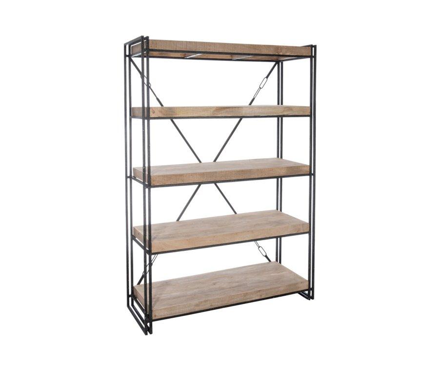 Grande étagère 4 planches bois et métal VALERIE - J-line