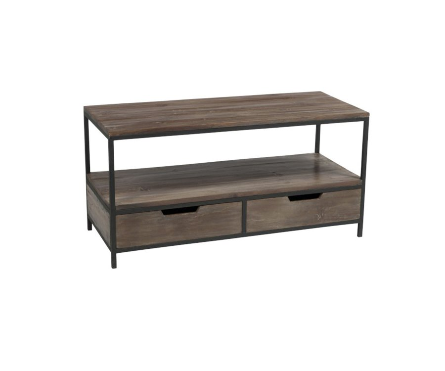 Table basse bois et métal avec tiroirs ALEXIA - J-line