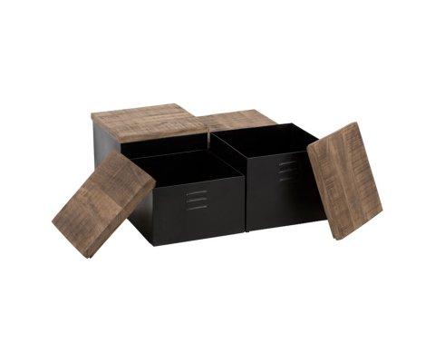 Set de 4 tables basse métal bois MICHELINE - J-line