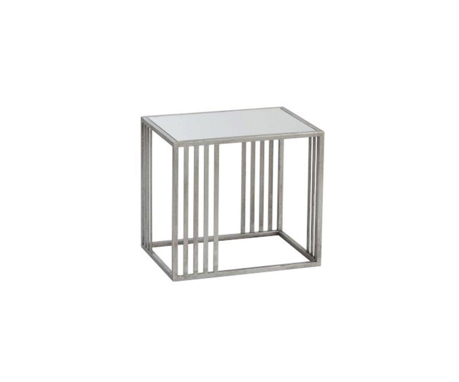 Table d'appoint carrée en métal et verre VALI - J-line