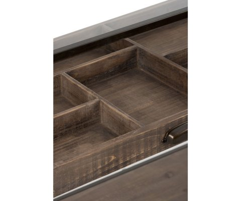 Console avec vitrine bois et métal TALINE - J-line