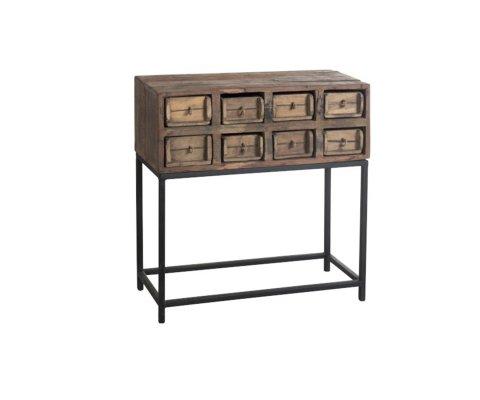 Console d'entrée 8 tiroirs bois recyclé BAZA