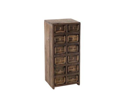 Commode haute 12 tiroirs en bois recyclé BAZA