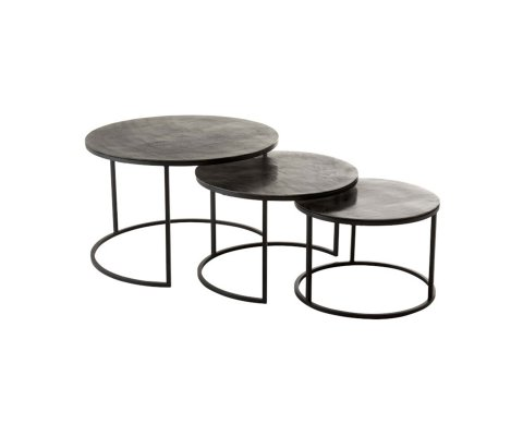 Lot de 3 tables gigognes rondes en métal MAT