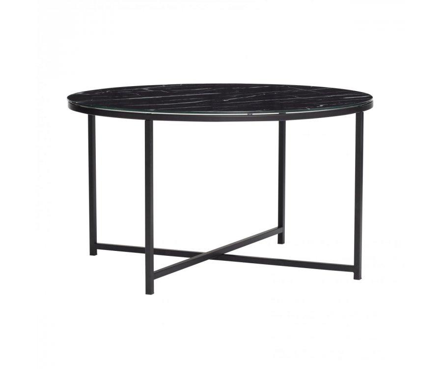 Table ronde métal et verre effet marbre VISONA - Hubsch